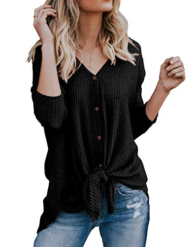 IWOLLENCE Womens Loose Henley Blouse Bat Wing Long Sleeve Button Down T Shirts Tie Front Knot Tops Black L