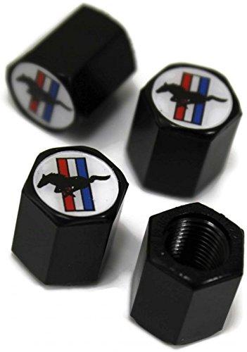 Ford Mustang Stripe White Wheel Air Tire Valve Stem Cap Black ABS Plastic