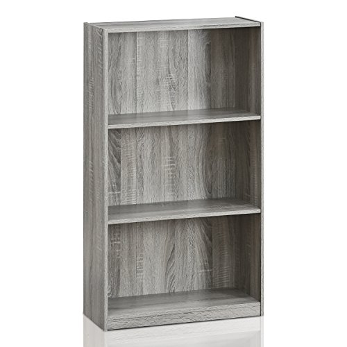 Furinno 99736GYW Basic 3-Tier Bookcase Storage Shelves, French Oak - Faux Distressed Finish Cherry