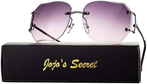 JOJO'S Secret Oversized Rimless Sunglasses,Retro Clear Lens Eyewear For Women JS013