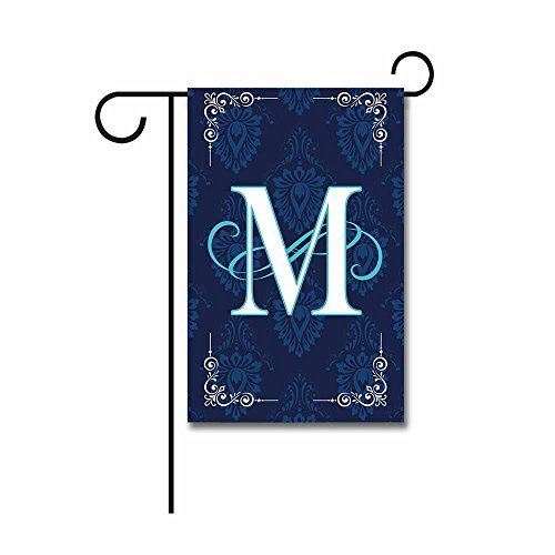 Kafepross Blue Flowers Garden Flag Monogram