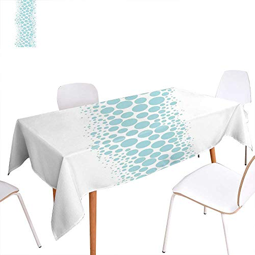 - familytaste Under The Sea Patterned Tablecloth Ocean Dive Inspired Image with Circle and Geometric Bubbles Art Print Dust-Proof Oblong Tablecloth 60