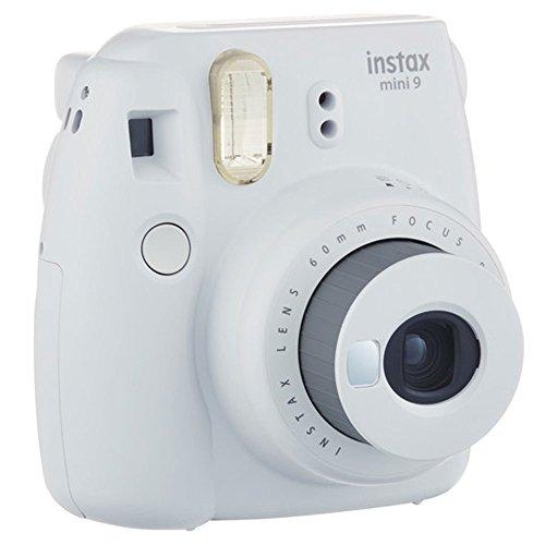 Fujifilm instax mini 9 Instant Film Camera (Smokey White) + Fujifilm Instax Mini Twin Pack Instant Film (80 Shots) + Camera Case + AA...