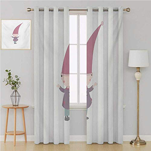 (Benmo House Kids grommit Curtain Kid Blackout Curtains,Little Cartoon Gnome Character Illustration with a Big Pink Hat Standing Under Rain Wall Curtain 96 by 84 Inch Multicolor )
