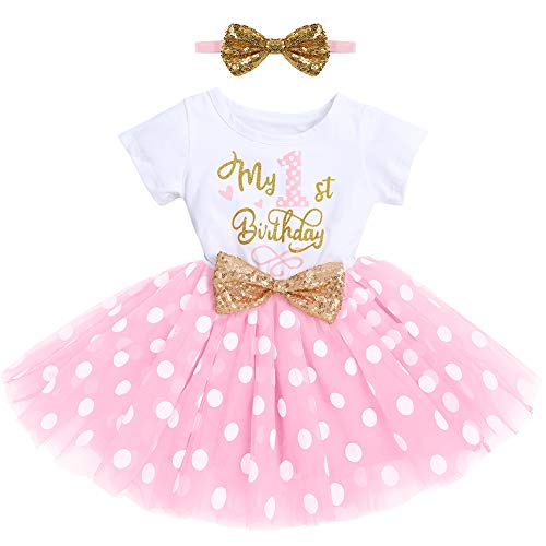 Pasgeboren Baby Meisjes 1st/2e Verjaardag Cake Smash Outfits Glanzend Gedrukt Pailletten Strik Tutu Rok Prinses Jurk…