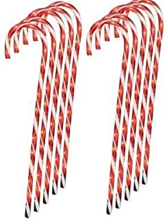 Amazon candy cane lights stake indoor outdoor christmas new lighted candy cane pathway markers 28 set of 12 4 mozeypictures Gallery