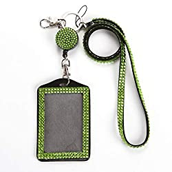 Green Rhinestone Crystal Necklace Badge Card Holder