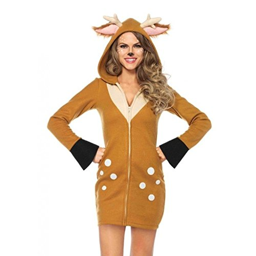 Bambi Halloween Costumes (Women's Cozy Bambi Fawn Deer Fleece Hoodie Dress Outfit Adult Halloween Costume Small)