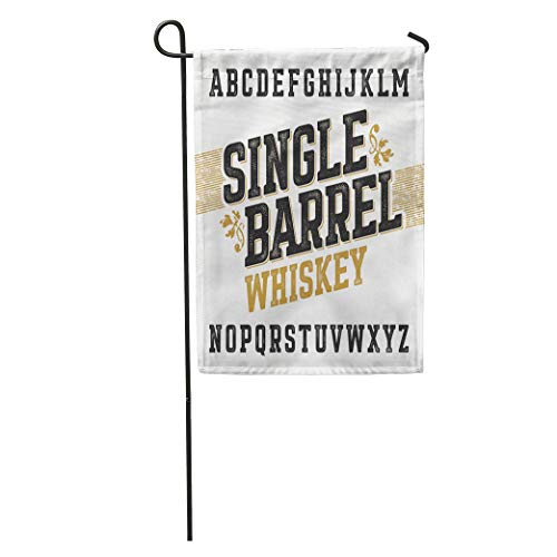 Semtomn Garden Flag Beer Single Barrel Whiskey Label Any in Vintage Retro Alphabet Home Yard House Decor Barnner Outdoor Stand 12x18 Inches Flag