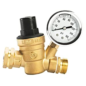Esright Brass Water Pressure Regulator Lead-Free with Gauge for RV Camper Adjustable Water Pressure Regulator (NH Threads Contains Oil)