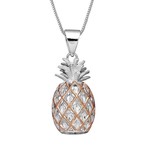 Sterling Silver with 14kt Rose Gold Plated Accents Medium Pineapple Pendant Necklace, 16+2 Extender