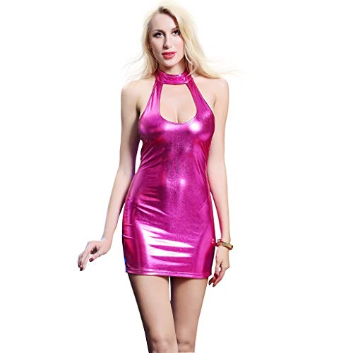 RYQXY Women's Mini Dress Wet Look PVC Leather Halter Sleeveless Open Back Sexy Dress Suitable for Night Club Evening Party Dancing