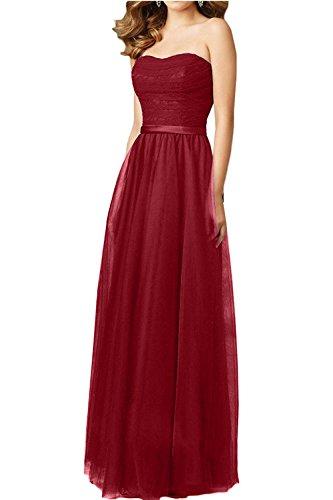 Abendkleider Partykleider Festlichkleider Kleider Traegerlos Spitze mia Rot Brautjungfernkleider Jugendweihe La Lang Brau I7qpg