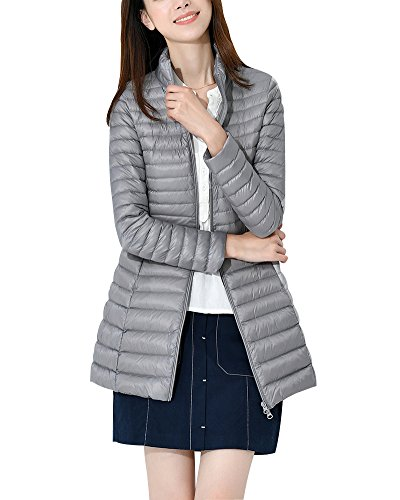 ZhuiKun Down Jacket Women Long Packable Down Puffer Coat Lightweight Outwear Grey