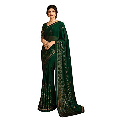 Georgette Zari Shimmer Saree Blouse Light Sari Indian Fashion Women Party Formal 8111 Blouse, Green 2