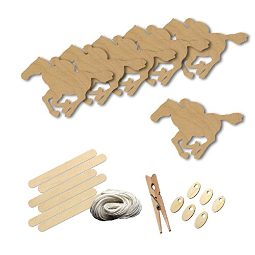 Racehorse (Race Horse Style 2262 , Wood Shape Craft Kit, 4 Inch Size Kids Project Kit, Great Party, School and DIY)
