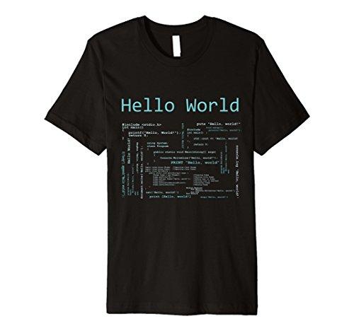 (Hello World - Computer Programming Languages Premium T-Shirt)