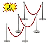 JAXPETY 3 Sets Round Top Polished Brass Stanchion Posts Queue Barrier, Pack of 6 Posts with Red Velvet Ropes,Silver