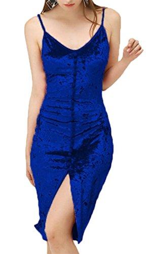 Cromoncent Backless Sleeveless Spaghetti V Blue Neck Front Dress Strap Women Slit twBrfw
