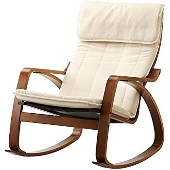 Ikea poang rocking chair medium brown with cushion kitchen dining - Chairs similar to poang ...