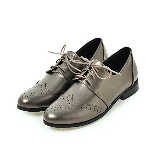 Women's Wingtip Silver Shoes Flat Oxford Hecater Oxfords Perforated Lace Vintage up OZwxWngqCd