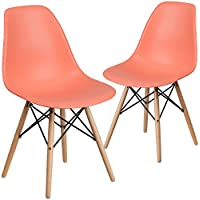 Flash Furniture 2 Pk. Elon Series Peach Plastic Chair with Wood Base