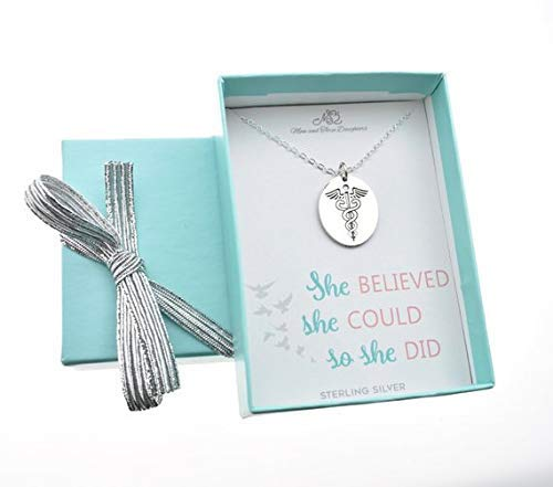 Woman's Caduceus Charm Pendant In Sterling Silver On An 18