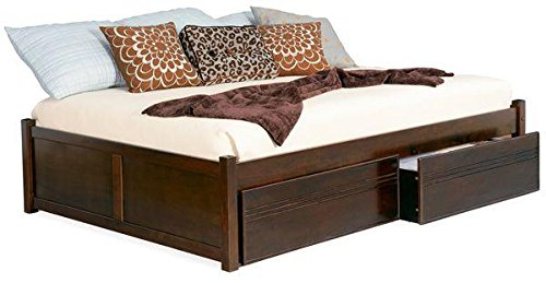Atlantic Furniture CONCORDFPFQUEENAW Concord Series Queen Size Bed with Flat Panel Footboard: Antique Walnut