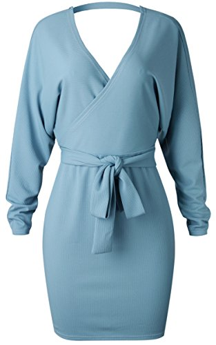 Angashion Backless Blue Women's Batwing Neck Sexy V with Dress Long Bodycon Sleeves Belt 7Y7dqrIw6x