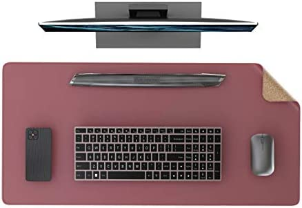 "YSAGi Multifunctional Office Desk Pad, Ultra Thin Waterproof PU Leather Mouse Pad, Dual Use Desk Writing Mat for Office/Home (31.5"" x 15.7"", Cork+Dark Pink)"