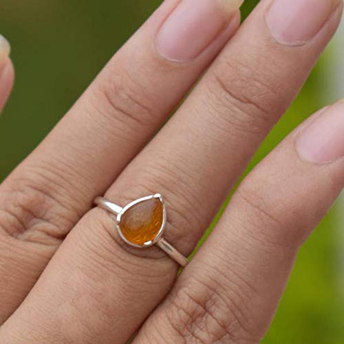 Baltic Amber Ring, Baltic Amber Stone Ring, 925 Sterling Silver Ring, Pear Shape Amber Ring, November Birthstone Ring, Gift For Her, Anniversary Gift Jewelry