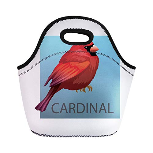 Tinmun Lunch Tote Bag Animation Northern Cardinal Bird on Red Animals Silhouette Bright Reusable Neoprene Bags Insulated Thermal Picnic Handbag for Women Men