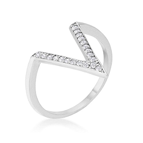 Gold V-shaped Ring Ring - Solid Michelle 0.2ct CZ White Gold Rhodium Delicate V-Shape Ring
