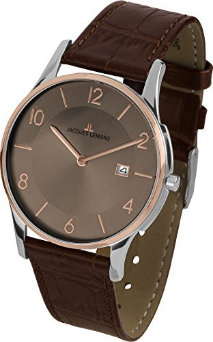 Jacques Lemans London 1-1777X 38mm Steel Two Tone Case Brown Calfskin Mineral Men's & Women's Watch