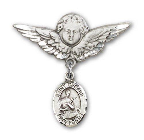 Icecarats Créatrice De Bijoux En Argent Sterling St. Broches Badge Gerard Charme D'Ange 1 1/8 X 1 1/8