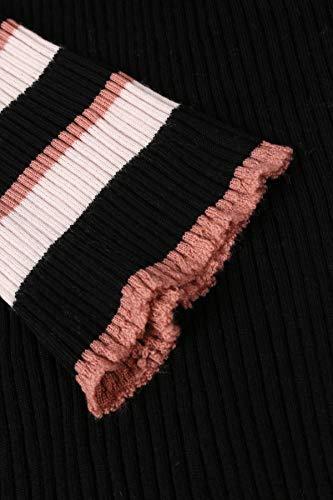 Streifen mit bloom Mehrfarbig Merinowolle aus Strickkleid Cw4qp