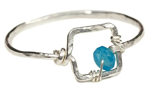 - Small Square Silver Aqua Ring Size 5 - Sterling Turquoise Blue Apatite Gemstone Jewelry Gift - Valentine,Galentine,Love,Romantic,Thoughtful Present
