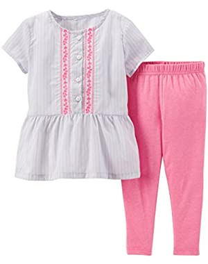 Baby Girls Embroidered Peplum Top & Leggings Set Pink