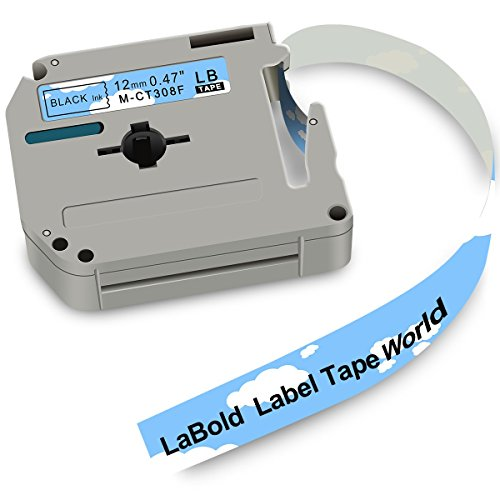 M-K231 Label Tape, LaBold 2 Rolls Unique Design Cartoon Style Black on Blue Sky Compatible for Brother Non-laminated M Series Labeling Tape MK-231 MK231 M231 12mm (0.47'') X 8m (26.2') by LaBold