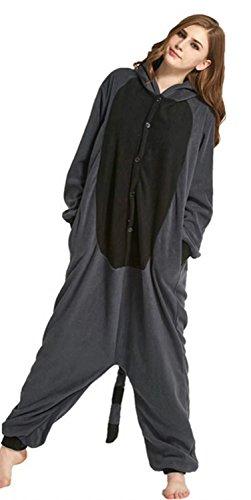 Ameyda Unisex-adult Kigurumi Onesie Gray Raccoons Pajamas Halloween Costume
