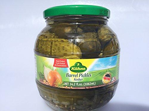 Pickles Barrel - Kuehne (former Gundelsheim) Kosher Pickle in Glas Barrel Jar 1062 ml - 34.2 fl Oz