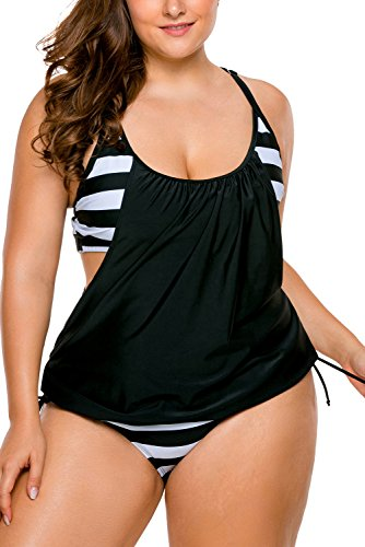 972af7109e9a3 Lalagen Women's Stripes Lined Up Tankini Plus Size Two Pieces Sport Bikini  size XL (BlackA)