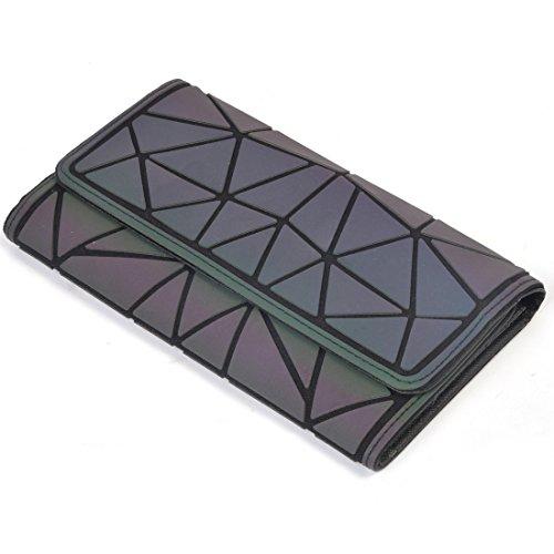 KAISIBO Women Geometric Rhomboids Lattice Luminous Long Wallet for your Cards and ()
