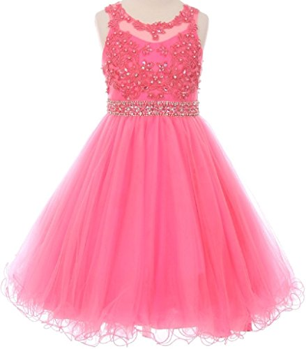 Little Girls Rhinestones Pearl Coiled Lace Top Pageant Party Flower Girl Dress Pink 6 -