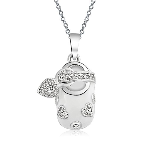 White Enamel CZ Heart Baby Shoe Pendant Sterling Silver Necklace 18 Inches