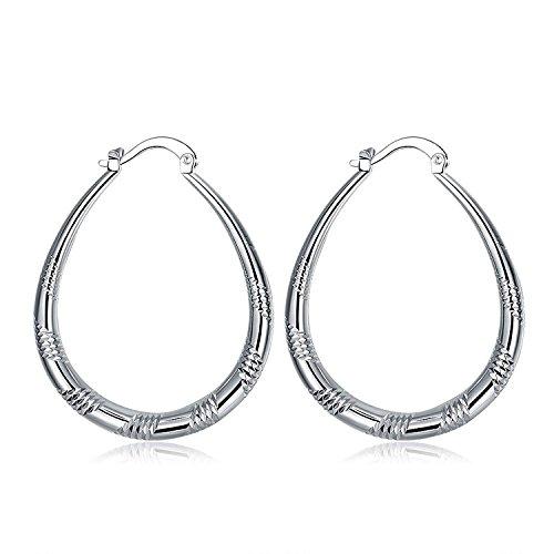 Nykkola Hot Fashion Jewelry 925 Silver Big Hoop Earrings