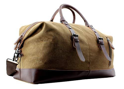 JIAO MIAO Overnight Canvas Leather Travel Tote Duffel Shoulder Handbag Bag,170805-brown ()