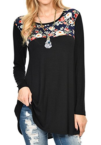 Ankosen Womens Long Sleeve Casual Round Neck Slim Tunic Top Floral Blouse T-Shirt (Black, (Embroidered Golf Mock Turtleneck)