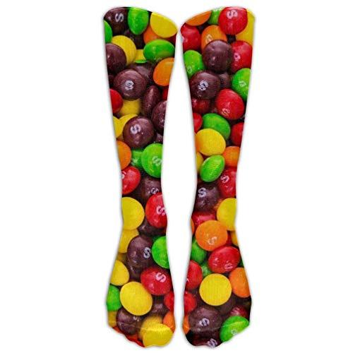 HUASEN 15.74in Unisex Skittles Unique Design High Socks Leg Warmers Football Aseball For Men Women -