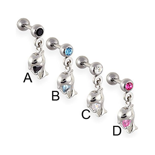 - MsPiercing Straight Barbell With Dangling Jeweled Dolphin, Pink - D